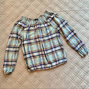 🆕🦋 Ralph Lauren plaid peasant top, pearl buttons